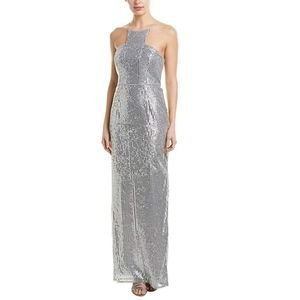 Adrianna Papell Silver Sequin Petite Gown